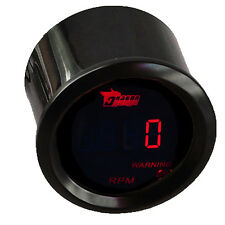 "2"" 52mm Tacho Gauge Black Shell Red LED Car Auto Digital Clocks RPM Tachometer"