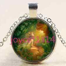Vintage flower fairy Cabochon Tibetan silver Glass Chain Pendant Necklace #2329
