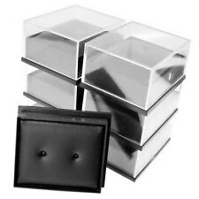 6x Black Earrings Jewellery Gift Box Bag Storage Presentation Leatherette Pad