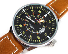 AVIATOR's 45mm PILOT Steel Army Military Sport Boat Date Quartz Wrist Watch TW U