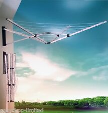 5 Arm Aluminium 26M Deluxe Wall Mounted Airer Clothes Line Dryer Wall Fix