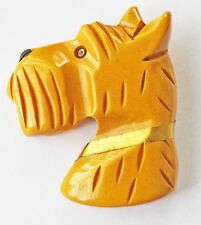 Vintage Butterscotch Bakelite Carved Scottie Dog Head Pin Brooch Golden Collar