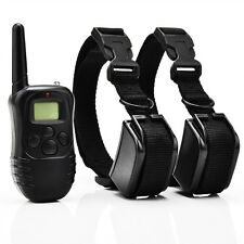 For 2 Dogs LCD 100 Level Shock Vibration Remote Dog Training Collar Controller