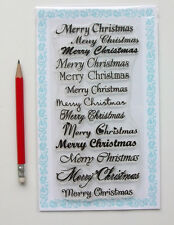 """Clear Stamps Lot (4""""x7"""") Merry Christmas Decor Greeting Saying FLONZ 808 Vintage"""