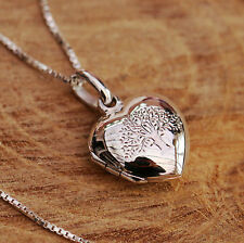 925 Sterling Silver Tree Of Life Love Heart Locket Pendant Chain Necklace w Box