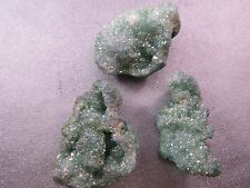 Rough Green Agate Geode Top Drilled Druzy Beads 3pcs