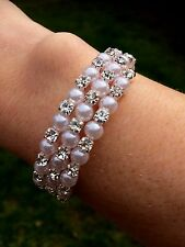 PEARL AND DIAMANTE WEDDING BRACELET SILVER RHINESTONE AND PEARL BRIDAL JEWELRY