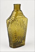 Great Antique 19th Century Historical Connecticut Glass Geometric Sunburst Flask