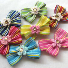 7/35/175PCS Fabric Ribbon Flowers Bows Appliques Wedding Deco Lots Mix Bulk A441