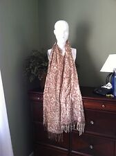 Nordstrom Huge Neutral Khaki Animal Print Cashmere Blend Scarf Wrap Stole Shawl