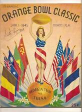 1945 Orange Bowl Game program Georgia Tech Tulsa