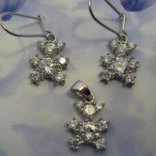Parure Nounours de Diamant Cz 13mm Argent Massif 925 Dolly-Bijoux