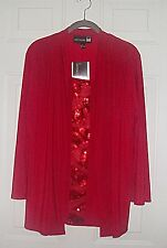 """ANTTHONY ORIGINALS SIZE PM RED BEADED TWOFER TOP  CHEST 40"""" HSN"""