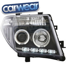 BLACK LED DRL ANGEL EYE'S HEAD LIGHT FOR NISSAN NAVARA D40 PATHFINDER R51
