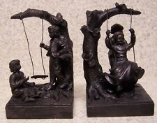 Bookends Memories of Youth Children Swinging Pair Book Ends NIB