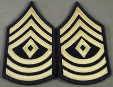 """US Army ASU Sleeve Rank Insignia First Sergeant E-8 Blue/Gold 2 5/8"""" Wide"""