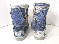 Custom Upcycled Orange Tie Dye Denim & Silver Patchwork UGG Boots Size 7W