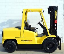 NICE! 2005 HYSTER H120XM 12000 LB DIESEL PNEUMATIC FORKLIFT 12,000 LB AIR TIRES