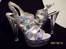 PLEASER will fit 5.5 SILVER HOLOGRAM & CLEAR HEELS Stripper Club Exotic Dancer