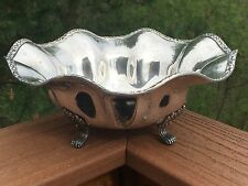 Silverplate Bowl ROSE SCROLL Ruffled Rim Footed Silver Plate Bowl Benedict Plate