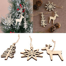 3pcs Wooden Christmas Tree Snowflake Reindeer Ornament Party Hanging Decoration