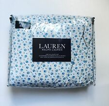Ralph Lauren 2PC Cotton Sheet Set Floral Rosebuds Blue Ivory Shabby FULL