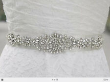 AVA Rhinestone Crystal Diamante Bridal Sash Wedding Dress Belt Any Colour Ribbon
