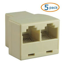RJ45 Cat 5e Cat6 LAN Ethernet Splitter Connector Adapter, 5pcs