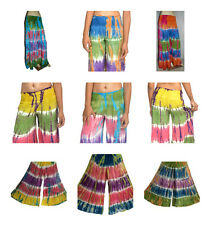 PACK of 2  Hippie Festival Tie Dye Wide Leg Flare Trousers Boho Pants Tribal