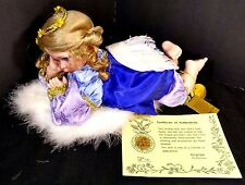 """Kingstate """"Hope"""" Blonde Angel Porcelain Doll With Feather Wings"""