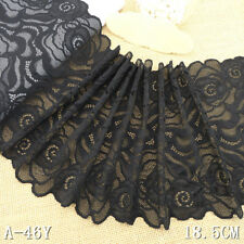 1 Yard Black Rose Bilateral Stretch Lace Trim For DIY Craft Lingerie Wide 7""