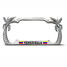 VENEZUELA FLAG Heavy Duty Metal Chrome PALM TREE License Plate Frame