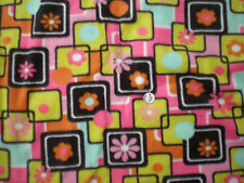 Art Deco Pink, Black, Yellow, Orange, & Yellow Flower Sqs Antipil Fleece Fabric