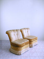 dorothy draper mid century HOLLYWOOD REGENCY tufted CHANNEL BACK slipper chairs