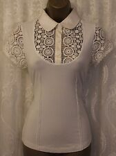 Karen Millen Drape Jersey Crochet Sleeve Collar Blouse Shirt Top White 6 34