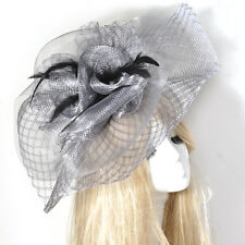 new large lady women wedding fascinator feather hat hair clip accessory handmade