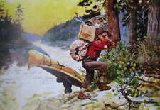 vintage art Hunters packing Canoe and Supplies