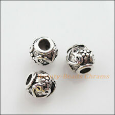 10Pcs Tibetan Silver Tone Round Flower Ball Spacer Beads Charms 8mm