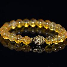 Men's Citrine Gold Buddha Head Beaded Bracelet Energy Bracelet