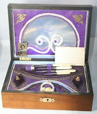 FRENCH BISTRO sewing ETUI BOX c1860  ANTIQUE; ORIGINAL Photo of owner & note