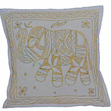 "Elephant Embroidered Aari Cushion Covers 40cm 16"" WHITE Cotton INDIAN Handmade"