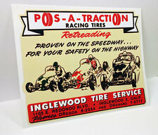 POS-A-TRACTION Racing Tires Vintage Style DECAL, Vinyl STICKER, hot rod, rat rod