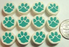 Turquoise Paw Print HM Polymer Fimo Clay Bead