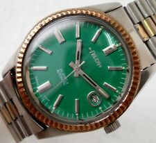 FELCA AUTOMATIC DATE BEZEL GREEN DIAL 25 JEWELS STEEL MENS WATCH CASE SIZE 35 MM