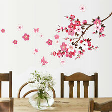 Flower Butterfly Wall Sticker Cherry Peach Blossom Removable Wall Decor Decal US