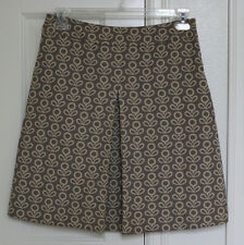 NWOT Boden Women Jacquard Floral Cotton A-Line Knife Pleat Skirt 12R US Grey EUC