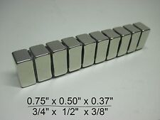 "10 Huge N30 Neodymium Block Magnet. Super Strong Rare Earth 3/4"" × 1/2"" × 3/8"""