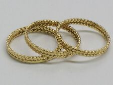 Solid 14KT Fine Yellow Gold Matching Stackable Rings Woven Bands