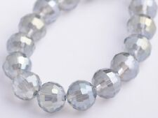 20pcs 10mm 96Facet Round Faceted Charms Crystal Glass Loose Beads Light Grey