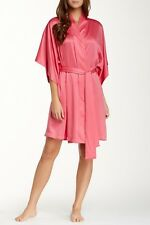 NEW NATORI $98 TROPICAL PINK SOLID CHARMEUSE WRAP ROBE SZ S SMALL